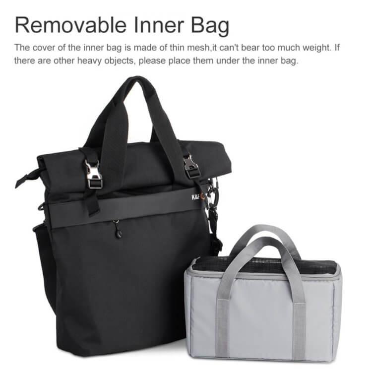 Large Shoulder Messenger Bag for DSLR Camera Photographyは取り外し可能なインナーバッグ付き