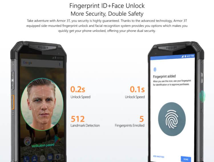 指紋認証と顔認証でセキュリティにも配慮