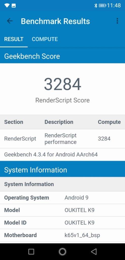 OUKITEL K9 Geekbench 4 GPUスコア