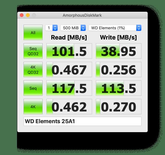 WD HDD ポータブルハードディスク 4TB WD Elements Portable WDBU6Y0040BBK-WESNベンチマークスコア