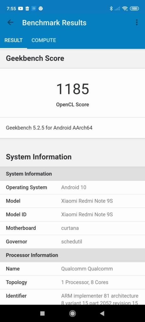 Geekbench 5 Xiaomi Redmi Note 9S GPUスコア