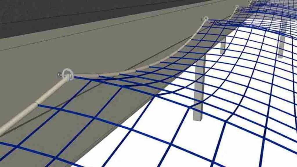 Rete per lucernari in poliammide - Tipo M fissata con funi perimetrali e ganci a ricciolo