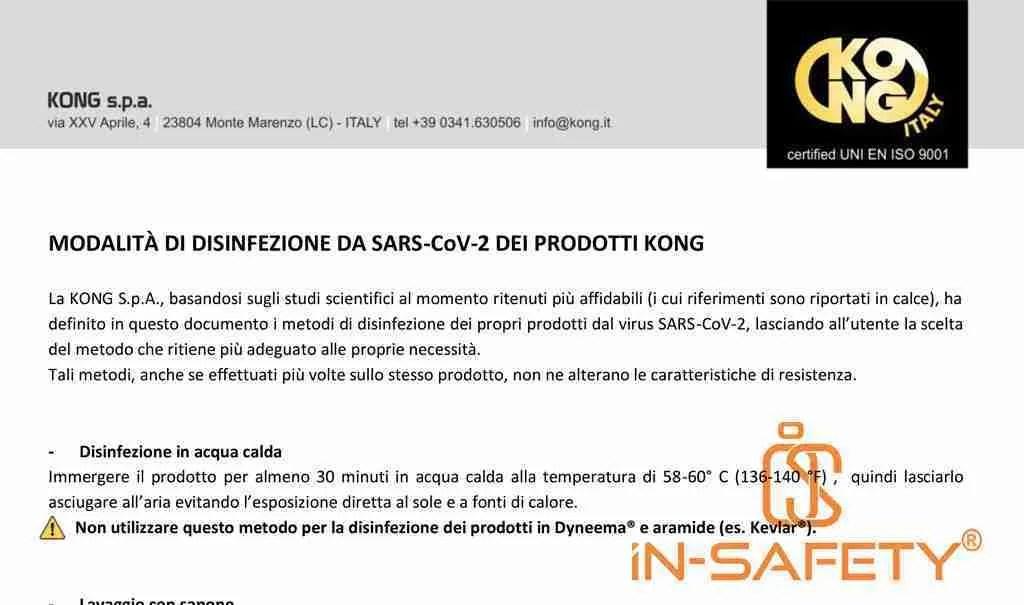 sanificazione dei dpi - indicazioni KONG