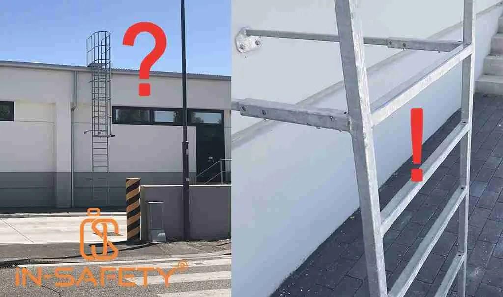 Una scala con gabbia autocostruita che evidenzia alcune lacune importanti che sono tra i maggiori errori nella progettazione anticaduta