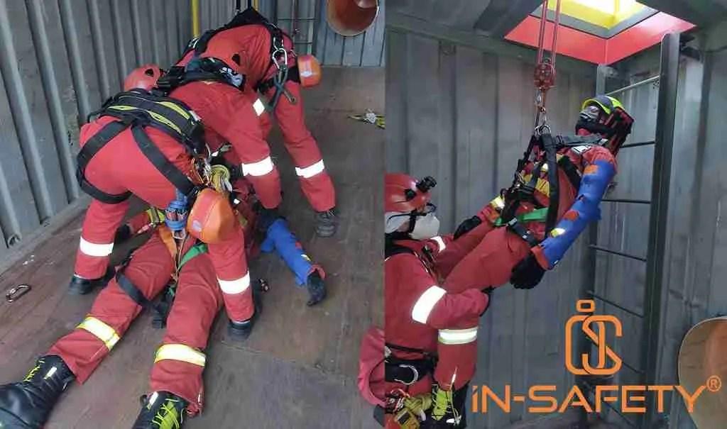 Alcune fasi di una procedura di salvataggio Entry Rescue tra cui l'immobilizzazione di spina e arti e il sollevamento con paranco a fune.