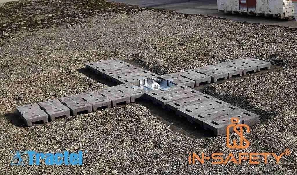 immagin che mostra come piazzare gli ancoraggi a corpo morto Mbifor di Tractel su coperture con ghiaia