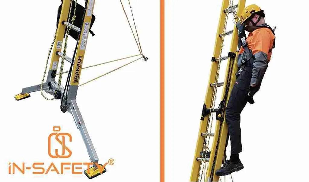 Immagini della scala BRANACH FEU-FC con dettaglio dei lacci di legatura e con esempio di lavoratore caduto che rimane appeso