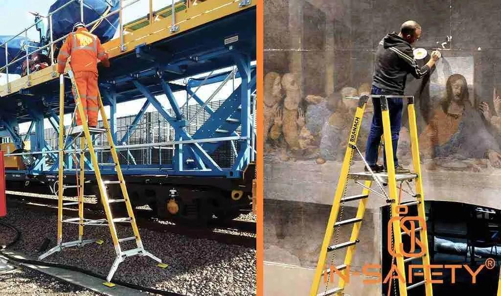 Esempi di impoego di scale a castello BRANACH su massicciate ferroviarie o per restauro pareti