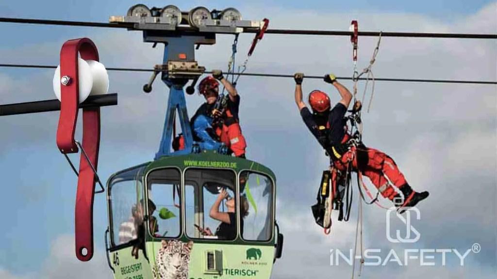 Soccorritori delle funivie raggiungono la cabina con dentro dei passeggeri rimasti bloccati. Lo fanno utilizzando speciali carrucole di grandi dimensioni pensate per scorrere sui cavi metallici della funivia.