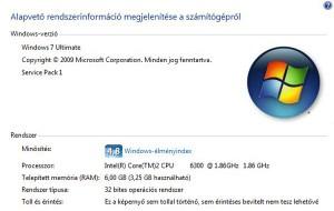 Számítógép Windows 7 rendszer tulajdonságok