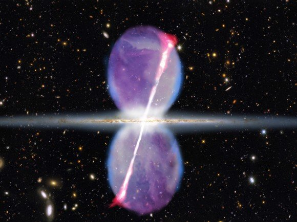 There also exists a Galactic Bubble that appears to be growing in size above and below the Milky Way Galaxy:
