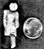 A tiny figurine made of baked-clay was brought up in amongst the debris churned out by the huge drill bit during the drilling of a well in Nampa Idaho in 1889. The object is a one inch long figure with one leg broken off at the knee.