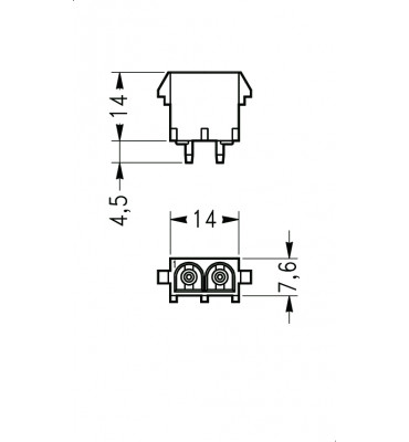 INAR-LOCK HOUSINGS FOR PC BOARD WITH SOCKETS 2 POSITION