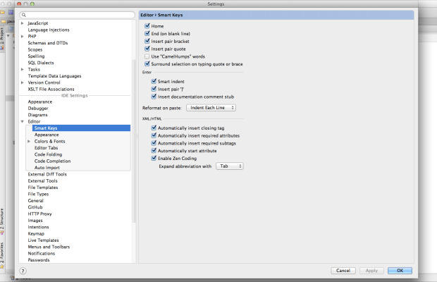 PhpStorm Preference: Editor > Smart Keys