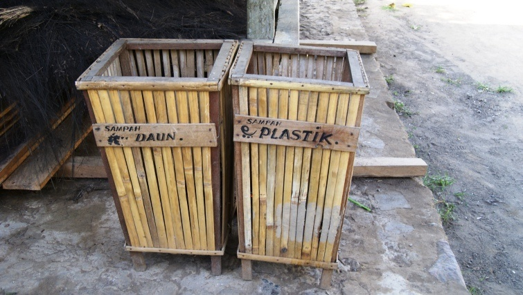 Bamboo recycling bins.