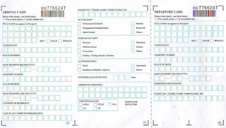 Arrival card Indonesia