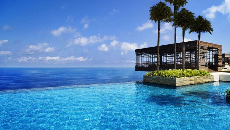 Infinity pool and pavilion at Alila Uluwatu resort