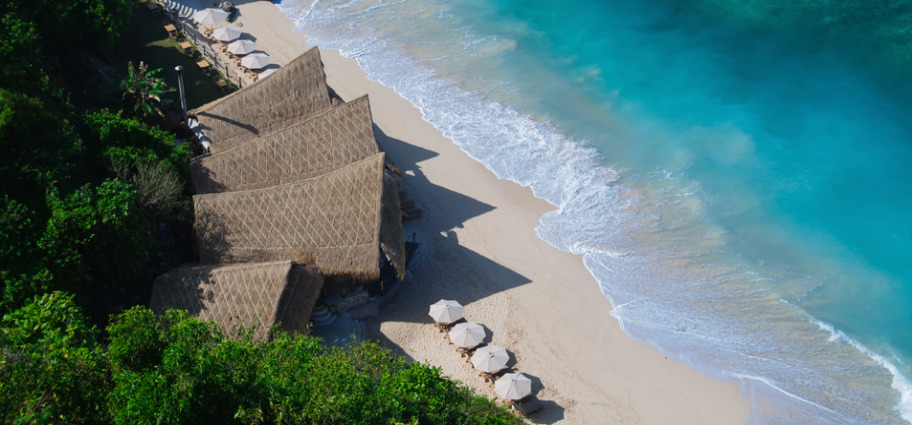 Finns Beach Club at the base of the cliffs at Semara Luxury Villa Resort