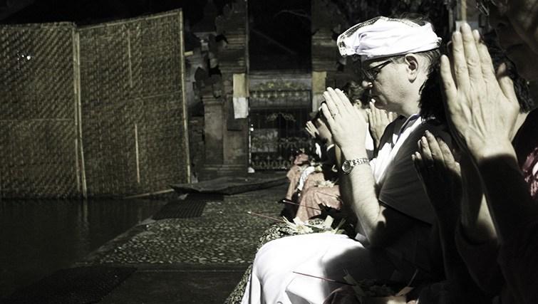 nighttime purification ritual at Tirta Empul Temple