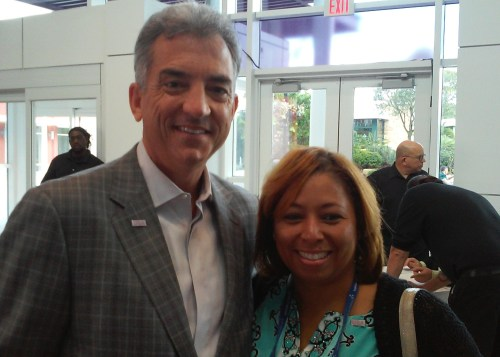 Brand USA President and CEO Christopher Thompson and Camila, director of marketing communications for Brand USA, meet up during the press brunch.