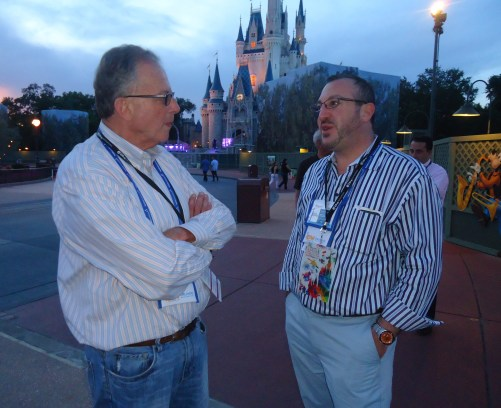 At the Disney evening function, Jake Steinman (right), founder and CEO, NAJ Group, meets with Chris Guidone, director of Wine, Water and Wonders of Upstate New York