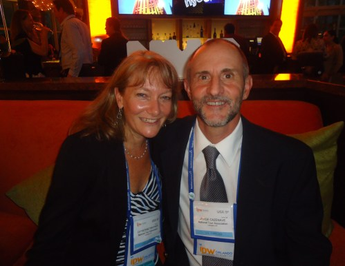 NTA @ NYC: The chairman of the board of NTA, Juan Cazaneve, owner of Cazaneve Argentina tours, and Catherine Prather, senior vice president at NTA.