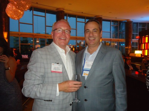 Part of the American Bus Association (ABA) contingent at NYC & Co. party: John H. Percy, Jr. (left),  president and CEO of Niagara USA, and a former ABA chairman; and Jacob Lloyd Kimbro, director of sales, residents shows division, Cirque du Soleil.