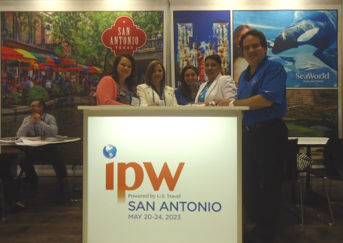 The mood is buoyant in the San Antonio CVB booth after the announcement the day before that San Antonio will host ipw for the first time ever in 2023.