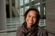 Julie Coker Graham, 48, is the new head of the Philadelphia Convention and Visitors Bureau, and as such it's her job to bring conventions to Philadelphia. Photographed December 21, 2015 inside the N. Broad Street lobby of the Pennsylvania Convention Center. ( CLEM MURRAY / Staff Photographer )