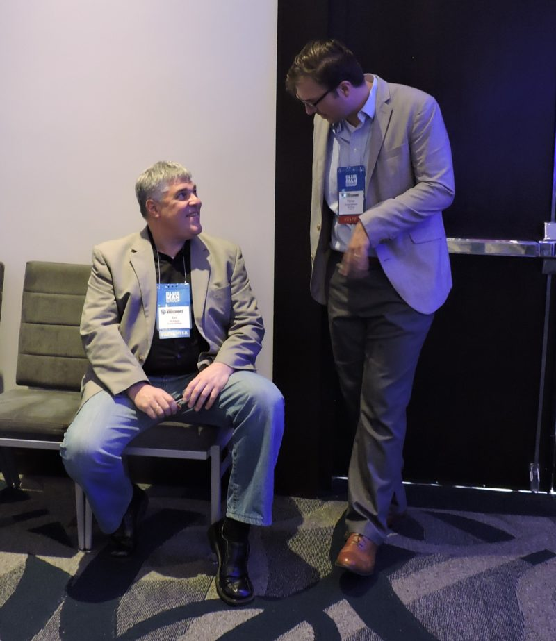 Taking a chat break between sessions are: Uri Argov (left), founder and CEO of Tourico Holidays; and NAJ Group's Florian Hermann, moderator for International Digital Day.