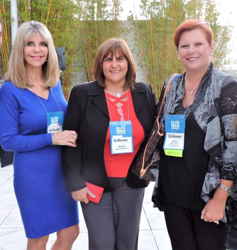 Florida colleagues joining one another at the closing reception include (left-to-right): Leda Beever, travel tourism sales and product development manager, Daytona Beach Area CVB, Marielle Perre, manager, global travel accounts & product director, Florida Travel Network Receptive; and Sabine Chilton, international sales manager for The Florida Keys and Key West.