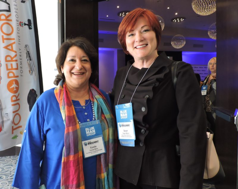 Catching up during the morning coffee break are San Francisco industry colleagues Estelle Miller (left), director of tourism development, Hornblower Cruises and Events; and Susan Wilson, president of San Francisco-based Susan Wilson Marketing.