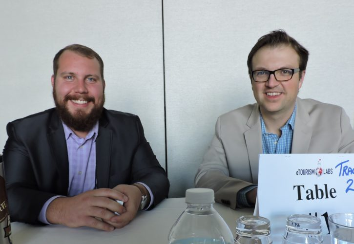 AJ Kinney (left), director of DMO partnerships, Matador Network; and Florian Hermann, creative director, NAJ Group.