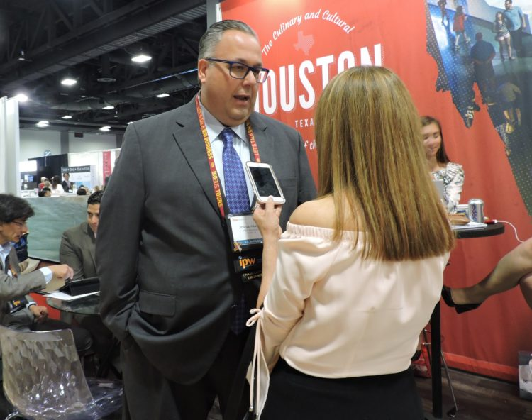 Jorge Franz, senior vice president of tourism, Visit Houston, is interviewed by Mexican journalist Bibiana Saucedo.