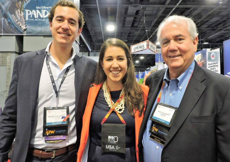 Family reunion: Meghan Gallagher, a policy analyst with the U.S. House of Representatives Committee on Foreign Affairs, stops by IPW to visit her father Mike Gallagher (right), co-founder and co-chair, CityPass; and brother, Brian Gallagher, director program management and business development, CityPASS.