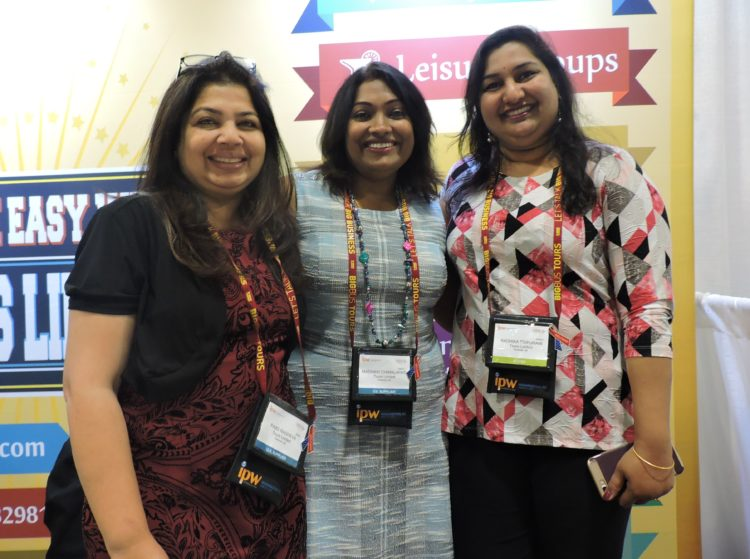 At the booth of Tours Limited (left to right): Mita Mehta, global director for groups; Madhavi Chimalapati, senior director, sales and marketing (fixed departures); and Radhika Tripurani, director, media, marketing and attraction tickets.