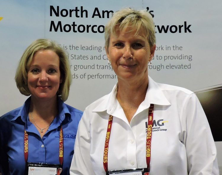Shane Lauler (left), vice president of sales, Starr Tours; and Bronwyn Wilson, president, International Motorcoach Group.