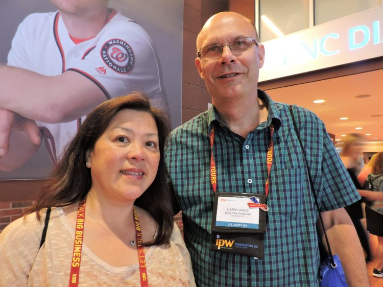 Jennifer Tsou, owner of the NYC tour operator Apple Express; and Harry Wade, tourism marketing manager, Duty Free Americas.