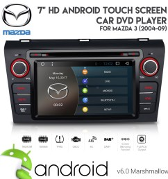 7 android 6 0 hd bluetooth gps dvd usb aux sd car stereo for mazda 3 2004 09 [ 1000 x 1000 Pixel ]
