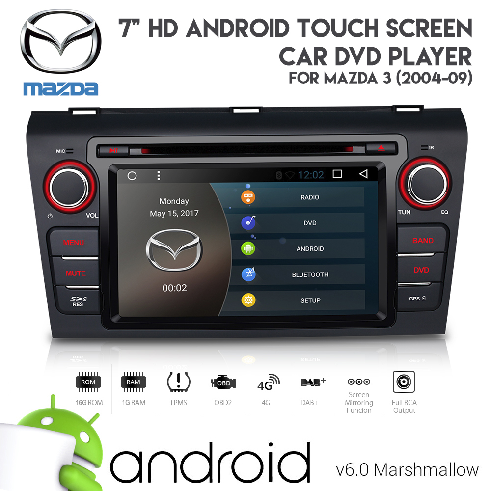 medium resolution of 7 android 6 0 hd bluetooth gps dvd usb aux sd car stereo for mazda 3 2004 09