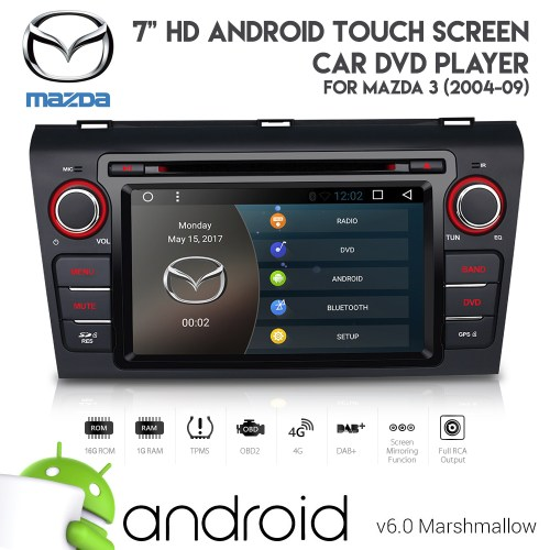 small resolution of 7 android 6 0 hd bluetooth gps dvd usb aux sd car stereo for mazda 3 2004 09