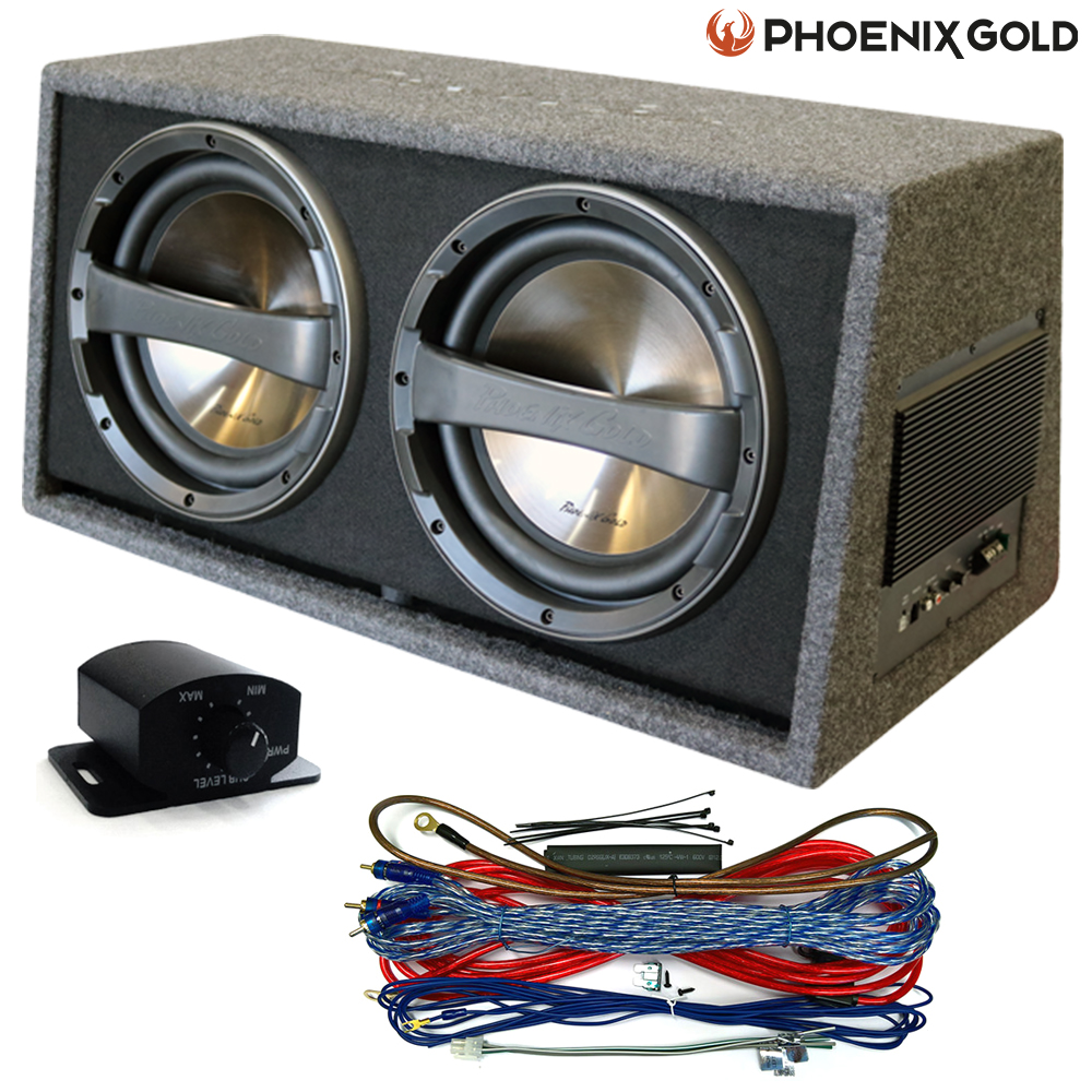 medium resolution of details about phoenix gold dual twin 12 640w subwoofer active box free wiring bass control