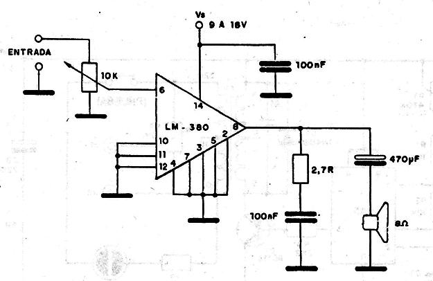 Amplificador Hasta 4 W LM380 (CIR465S)