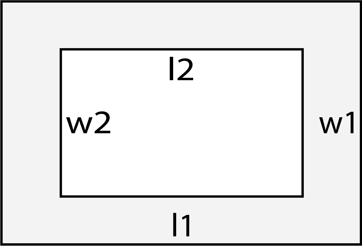 hight resolution of diagram of a border showing l1 outer length w1 outer width l2