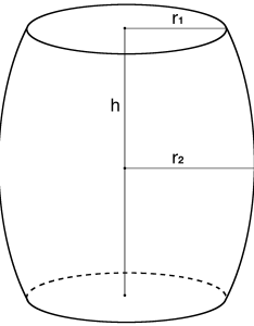 Drawing of  barrel showing how to find the height middle radius and top also volume capacity calculator inch rh inchcalculator