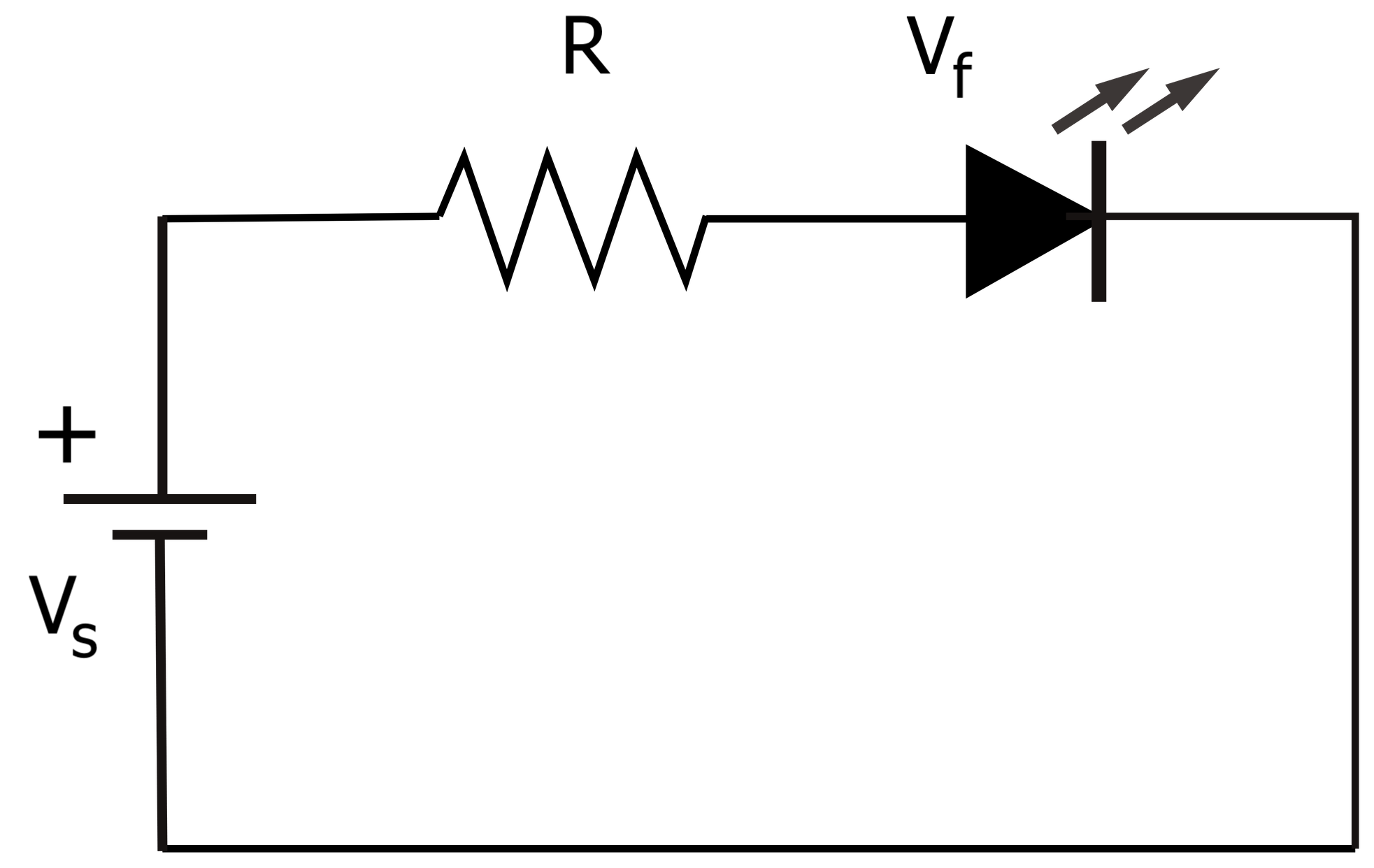 hight resolution of electrical circuit diagram showing an led and resistor