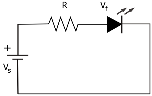 small resolution of electrical circuit diagram showing an led and resistor
