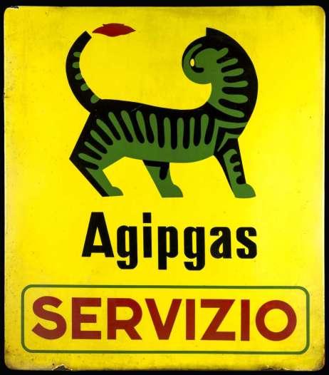 Federico-Seneca-insegna-in-metallo-smaltato-Agipgas-Servizio-1954-80-x-70-cm-Collezione-privata