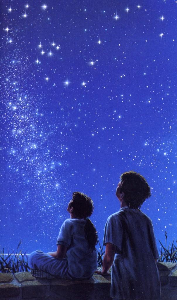 Bambini con cielo stellato