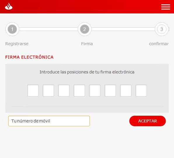 Solicitud clave secreta y teléfono Santander